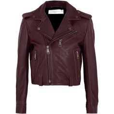 Victoria, Victoria Beckham Cropped leather biker jacket (£985) ❤ liked on Polyvore featuring outerwear, jackets, purple motorcycle jacket, cropped jacket, biker jacket, burgundy moto jacket and leather moto jacket