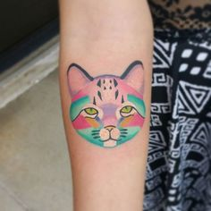 Fun little kittie portrait I did today. Clients first tattoo and she sat like it was no big deal! #tattoo #ink #bltg #blacklotustattoos #lildantattoo #cattoo #girlswithtattoos #color #cat #kittie