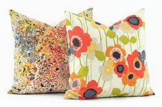 Waverly Pic a Poppy Poppy and Pitter Patter Poppy 100% cotton decorative pillow covers