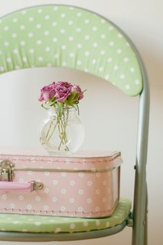 Shabby Cottage Chic pastels, pale pink and green polka dot