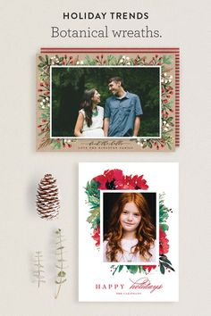 Minted Holiday Card Trends for 2016: Botanical Wreaths.   Add artistry without overwhelming your photos with this rustic chic design trend.