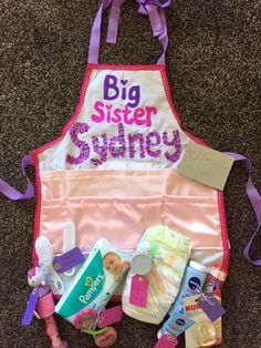Big Sister Apron, shower for big sister, sister of new baby