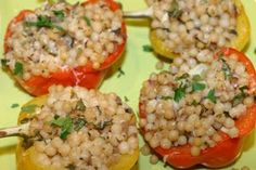 The Italian Dish - Posts - Stuffed Peppers Veggie Food, Veggie Recipes, Cooking Peppers, Italian Dishes, Stuffing, Fried Rice, Tomatoes, Fries, Food And Drink