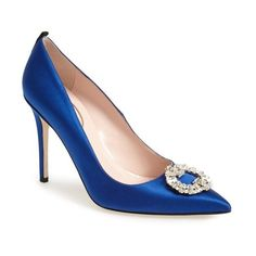 Women's SJP 'Maddalena' Pointy Toe Pump (3.470 DKK) ❤ liked on Polyvore featuring shoes, pumps, blue satin, pointed toe shoes, blue pumps, sjp shoes, pointy-toe pumps en cocktail shoes
