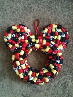 Ash, can you make this for Katie?    Mickey Mouse Ribbon Wreath by KKsHandmadeWreaths on Etsy, $25.00