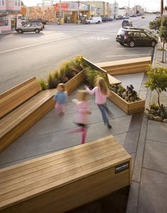 Matarozzi Pelsinger Design + Build designed this modern parklet replacing three parking spaces on a street in San Francisco, California. Urban Furniture, Street Furniture, Concrete Furniture, Furniture Online, Furniture Stores, Urban Landscape, Landscape Design, Parque Linear, Design Commercial