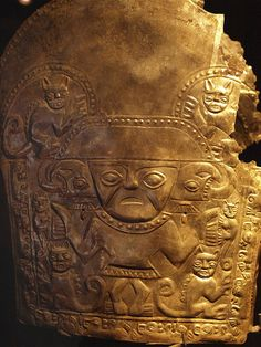 Ancient Incan jewelry in Museo Rafael Larco Herrera  gold  plaque