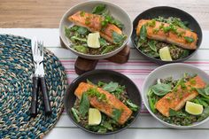 Thai-Spiced Salmon with Coconut Lentils, Romano Beans & Yu Choy. 4 servings, 555 cals each.