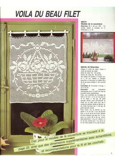 "Photo from album ""Burda special Filet au crochet on Yandex. Crochet Curtains, Crochet Doilies, Crochet Roses, Motifs Roses, Filet Crochet Charts, Album, Yandex Disk, Victorian, Image"