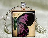 Scrabble Tile Jewelry - Purple Butterfly Scrabble Tile Pendant with Necklace and Matching Gift Tin