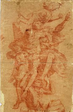 iGavel Auctions: Baroque Sanguinee Chalk on laid paper - ANGEL - PIETRO RICCHI 1606-1675 U8RC