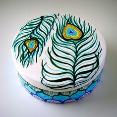 Peacock Feathers Ceramic Box Painted Turquoise Blue by sewZinski