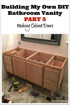 Building My Own DIY Bathroom Vanity - Part 5 - Making Cabinet Doors. See the entire series for Part 1 - 7: Attaching Legs, Building the Sides, Adding Partitions, Making Drawers and Cabinet Doors, Fitting the Granite Top, and Finishing the Red Oak wood! Thrift Diving