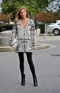 Street-Style French Dressing:    Keeping things simple with a sleeved shift dress, opaque tights and mid-calf boots.