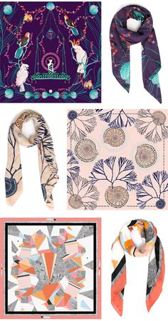 silk scarf illustrations by artist Coco, from her line called Forget Me Not.