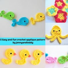 5 easy and fun ... by jennyandteddy | Crocheting Pattern - Looking for a crocheting pattern for your next project? Look no further than 5 easy and fun crochet applique free from jennyandteddy! - via @Craftsy ~ In my downloads (5 easy and fun crochet applique free 8/19/2014)