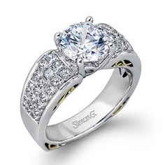 Simon Set Collection - This gorgeous 18K white gold ring is comprised of 1.19ctw princess cut Diamonds. - MR2303
