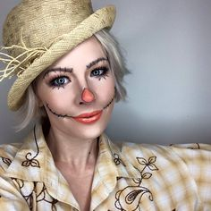 CUTE SCARECROW MAKEUP | Easy Costume ideas you can do with stuff from around the…