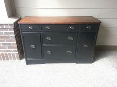 Antique buffet refinished in oil lamp black and java gel stain.  www.facebook.com/OlCountryChic