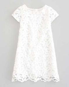 Charabia Crocheted Lace-Overlay Dress, White / Wantering