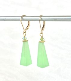 Art Deco Earrings - Apple Green Jewelry - Vintage Glass - Geometric Earrings - Neon Green Jewelry - Green Wedding- Chrysoprase Jewelry by PureBlissJewelry on Etsy Art Deco Earrings, Drop Earrings, Jewelry Accessories, Unique Jewelry, Green Wedding, Neon Green, Flourish, Bliss, Best Gifts