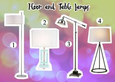FLOOR AND TABLE LAMPS www.theteelieblog.com  Here are basic types of lights that can decorate your living room or bedroom. #TeelieBlog