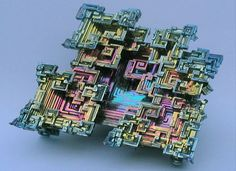 Bismuth Crystal, man-made, grown. 83rd element on the periodic table of elements.