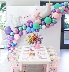 A Little Girl's Magical Rainbow Birthday Party - Inspired By This Girls Birthday Party Themes 3 Year Old Birthday Party, Unicorn Themed Birthday Party, Rainbow Unicorn Party, Girls Birthday Party Themes, Rainbow Birthday Party, Unicorn Birthday Parties, Birthday Bash, Birthday Party Decorations, Unicorn Balloon