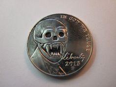 Hobo Buffalo Jefferson Nickel Folk Art Coin Love Token Demon Monster Fang Skull   eBay