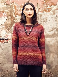 Scilly - Knit this ladies colourwork sweater from Rowan Knitting & Crochet Magazine 58, a design by Gemma Atkinson using the wonderful combination of Kidsilk Haze (mohair and silk) and Felted Tweed (wool) held together. With a subtle stripe sequence and textured stitch detail, this knitting pattern is suitable for the more experienced knitter.