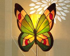 12 Tiffany Style Butterfly Sconce Lamp. Hand by AmberGlassArt