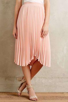 Scalloped Pleats Midi Skirt #118 #Lehappy