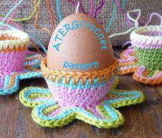 Crochet pattern colorful flower eggcup by ATERGcrochet. €2.75, via Etsy.