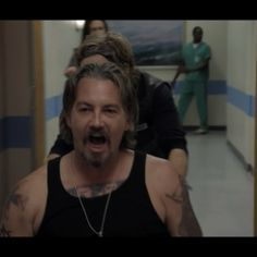 Chibs being released from the hospital after the car bomb Zobelle and Weston set in the Teller Morrow parking lot