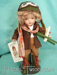 Angel, a vintage Hazel Twigg composition doll, dressed as an Aviator.