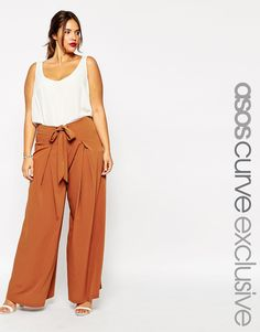 ASOS CURVE Wide Leg Trouser With Eyelet & Tie Detail