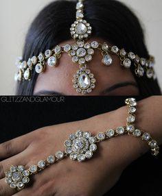 Handmade Kundan stones head chain headpiece by glittzzandglamour, $95.00