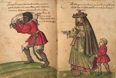 Esclavo transportando un pellejo de vino y mujer española yendo a la iglesia. Dibujos de Christoph Weiditz. Lámina de la exposición.