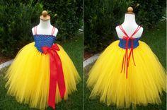 Snow White Tulle Tutu Costume Dress by JustaLittleSassShop on Etsy