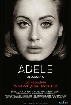 Adele actuará en el Palau Sant Jordi de Barcelona el 24 de mayo de 2016. Entradas a la venta el 3 de diciembre.