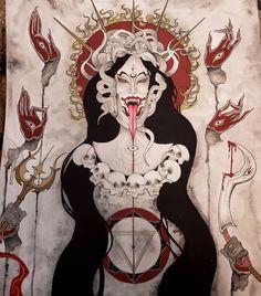 Kali Goddess, Goddess Art, Mother Kali, Kali Ma, Satanic Art, Esoteric Art, Occult Art, Sketch Inspiration, Angels And Demons