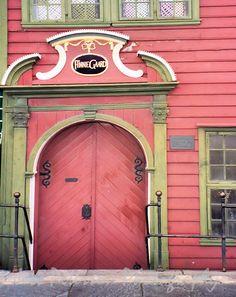 Scandinavian door photos  Magical looking doorway  Bergen Norway Salmon pink Green 8x10 Travel Photograph Metallic Paper In Stock