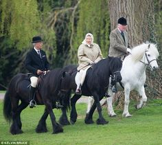 Outing: The Queen has spent a second day enjoying the spring sunshine in Windsor Great Park this week 13 Apr 2015