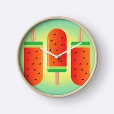 """Watermelon Ice Lollies"" Clocks by QueenieLamb | Redbubble"