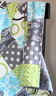 Baby Blanket, Modern Baby Quilt - Lime Green, Aqua and Grey