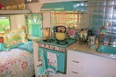 Vintage camper ~ turquoise sink. @Aimee Lemondée Gillespie Lemondée Gillespie Clark this reminded me of you!!