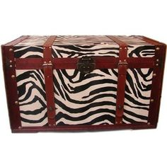 Buyers Choice Phat Tommy Zebra Print Decorative Trunk