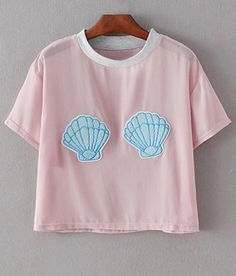 Shell Appliqued Chiffon T-Shirt