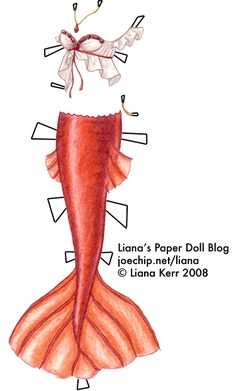 Liana's Paper Doll Blog » Mermaid Monday #7: Crimson Tailed Mermaid with White Ruffly Top and Ruby Jewelry