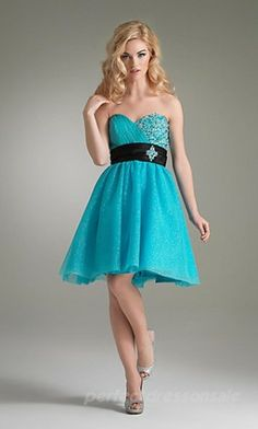 Lite blue short homecoming dress with a black belt